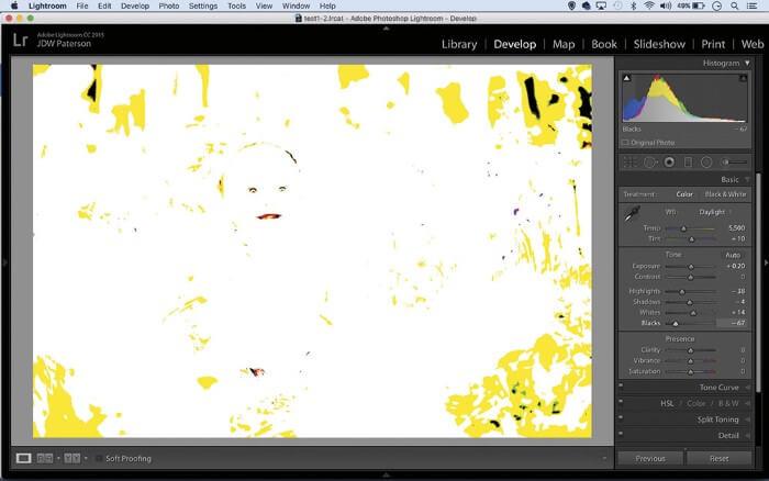تنظیم نقاط سیاه و سفید عکس با فرمت Raw