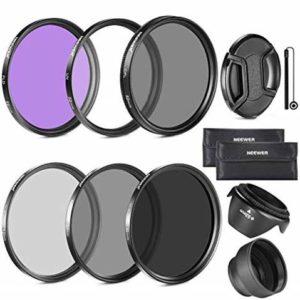 فیلترهای دوربین عکاسی در رنگهای تیره مختلف به همراه کیف نگهدارنده و تبدیل ها