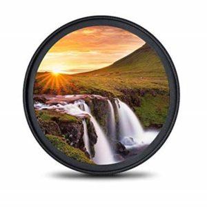 فیلتر دوربین عکاسی به همراه تصویر منظره آبشار و طلوع آفتاب در دشت سبز