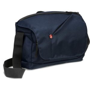کیف دوربین مانفروتو رنگ سرمهای طرح کیف دوشی