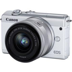 دوربین کانن M200 سفید با لنز 15-45 میلیمتر