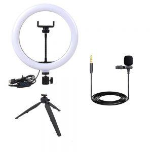 رينگ لايت YQ-200 Ring Light+میکروفن و پایه